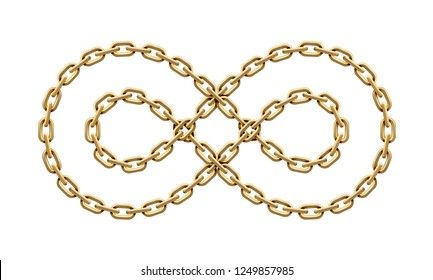 Infinity sign made of two twisted golden chains. Mobius strip symbol. Vector realistic illustration isolated on a white background.