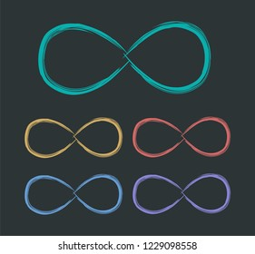 Infinity sign. Multicolored infinity signs. Vector illustration.