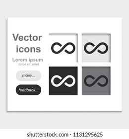 Infinity sign placed on web page template flat vector icon.
