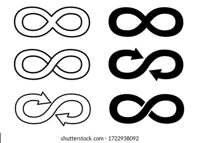 Infinity signs in different forms of two colors, black and white on a white background. Vector illustration. Stock Photo.
