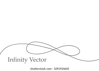 Infinity in solid lines of drawing. Continuous black line. Work flat design. The symbol of infinity of motion