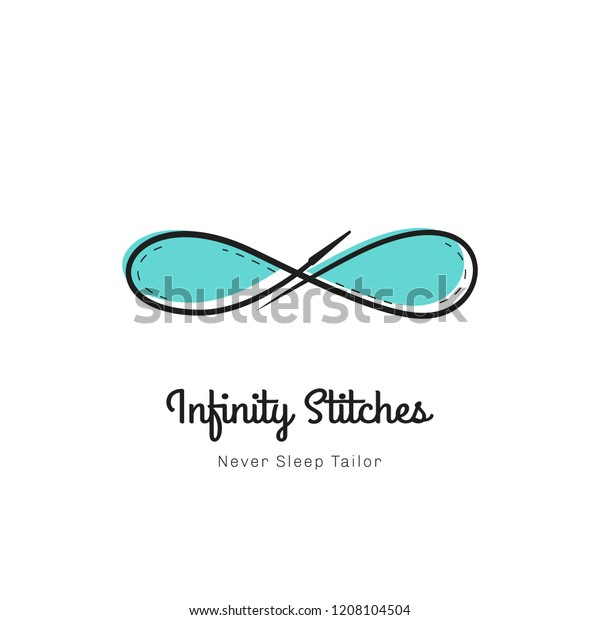 Infinity Stitches Unlimited Sewing Tailor Logo Stock Vector (Royalty