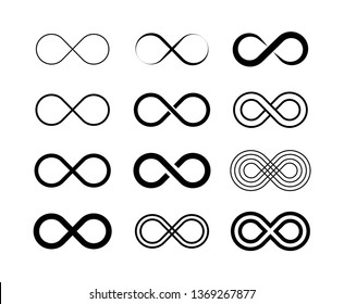 Infinity symbol big set. Unlimited infinity, endless, logos Vector illustration
