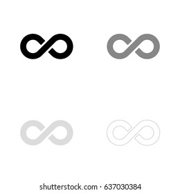 Infinity symbol in black, gray and line art. Vector illustration, easy to edit.