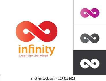 Infinity Symbol With Color gradient Red, Violet, Black and White. Gradient in the shape of the infinity symbol. Eight sign colorful gradient.