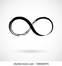 Infinity symbol. Eternal, limitless emblem. Black mobius ribbon silhouette. Modern grunge brush stroke. Cycle, endless, life concept. Graphic design element for card, logo, tattoo. Vector illustration