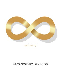 Infinity symbol gold on a white background.