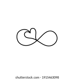 Infinity symbol with a heart, hand-drawn with ink. Vector illustration isolated on white background