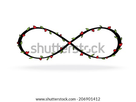 Infinity Symbol Heart Leave Stock Vector Royalty Free 206901412