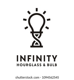Infinity symbol with hourglass and bulb for unlimited creativity logo design inspiration