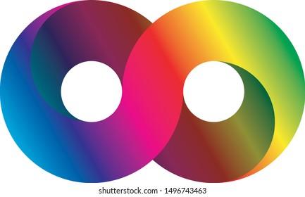 Infinity symbol icon, aka lemniscate, looks like sideways number eight. Mathematic symbol representing the concept of infinite figure. Rainbow light spectrum gradient vector illustration.