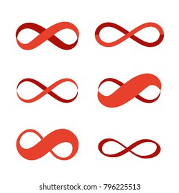 Infinity symbol icons. Contours of different shapes, thickness and style isolated on white background. The appearance of ribbons. Colored - red. Vector logos set. Eps 10.