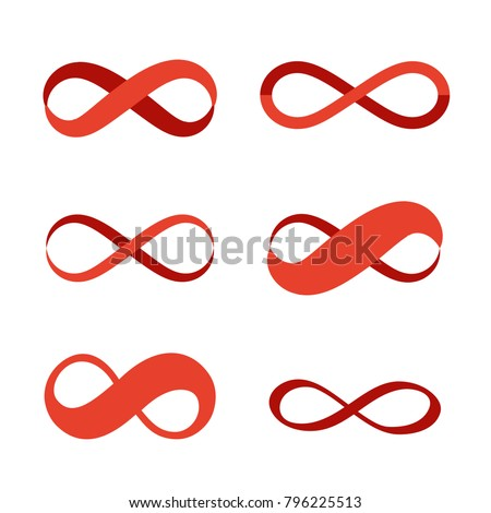 Infinity Symbol Icons Contours Different Shapes Stockvector