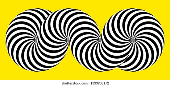 Infinity symbol of interlaced circles. Impossible shape on color background. Optical illusion with striped lines. Black white stripes of circle.