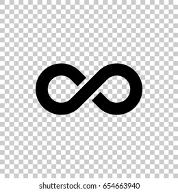 Infinity symbol isolated on transparent background. Black symbol for your design. Vector illustration, easy to edit.