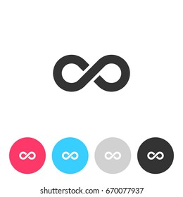 Infinity symbol isolated on white background. Button with symbol for your design. Vector illustration, easy to edit.