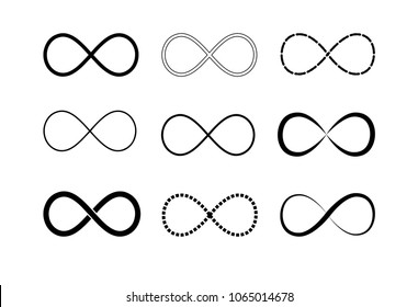 Infinity symbol logos set. Black contours. Symbol of repetition and unlimited cyclicity. Vector illustration isolated on white background