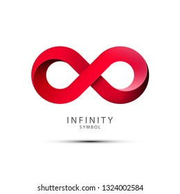 Infinity Symbol. Red Endless Icon Isolated on White Background.