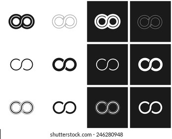 Infinity symbol set in grey and white, endless, infinite