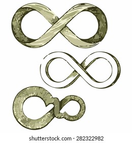 Infinity symbol. Shades of green and yellow. Doodle style
