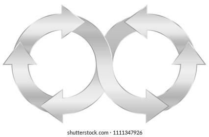 Infinity symbol, silver arrow circuit. Illustration on white background.