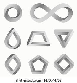 Infinity symbol and various impossible figures: triangle, square, circle, trapezium. Set of vector isometric logo. Symbol of repetition, cyclicity and infinity. Impossible shapes isolated on white.