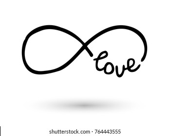 Infinity symbol with word love. Icon hand drawn with ink brush. Modern doodle outline. Endless love, wedding, engagement concept. Graphic design element invitation, card, tattoo. Vector illustration