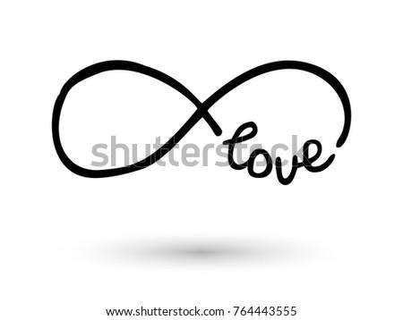 Infinity Symbol Word Love Icon Hand Stock Vector Royalty Free