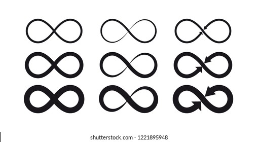 Infinity symbols. Eternal, limitless, endless, life logo or tattoo concept. - Shutterstock ID 1221895948