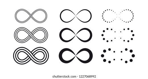 Infinity symbols. Eternal, limitless, endless, life icons or signs concept. Isolated on a white background.
