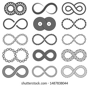 Infinity symbols. Mobius loop shape, unlimited and forever signs. Abstract motion, identity and eight shaped isolated vector line infinite limitless logos