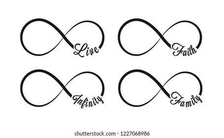 Infinity symbols. Repetition and unlimited cyclicity icon and sign illustration on white background. Live, faith, family