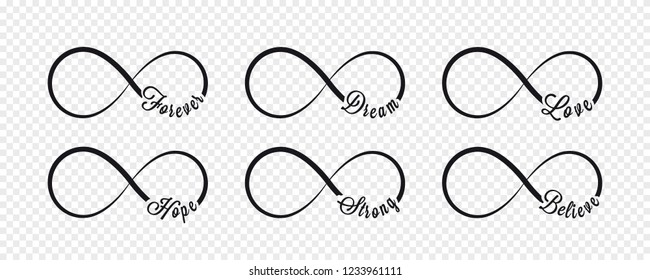 Infinity symbols. Repetition and unlimited cyclicity icon and sign illustration on transparent background. Forever, dream, love, hope, strong, believe