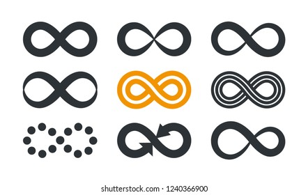 Infinity symbols. Repetition and unlimited cyclicity in different style isolated on white background.