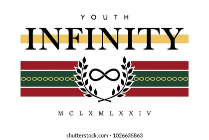 infinity writing typography, tee shirt graphics, slogan, vector