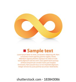 Infinity yellow Icon sign, template design element, Vector illustration