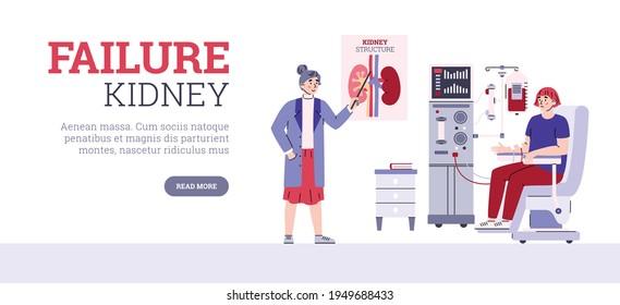 Inflammation of kidneys or kidney failure website, cartoon vector illustration.