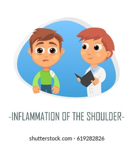 Inflammation of the shoulder medical concept. Vector illustration. Doctor and patient are talking in the hospital. Isolated on white background.