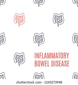 Inflammatory bowel disease awareness poster. Medical pattern of healthy intestines and one affected by the illness. Human body organ IBD disorder. Vector illustration.