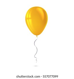 Inflatable air flying balloon isolated on white background. Close-up look at yellow balloon with reflects. Realistic 3D vector illustration
