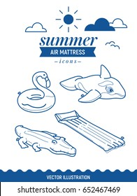 Inflatable air mattress icon set. Summer outline icons with clouds and sun. Whale, crocodile, flamingo and basic retro simple mattress