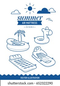 Inflatable air mattress icon. Summer outline icon set with clouds. Palm tree, island and basic retro simple mattress