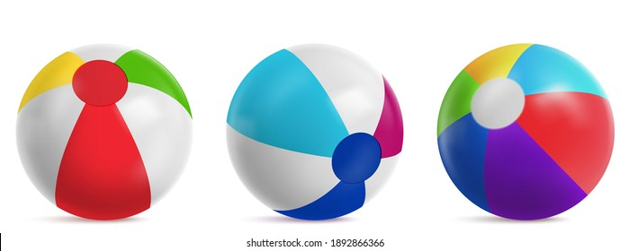Inflatable beach ball, striped air balloon for play in water, swim pool or sea. Vector realistic set of bright rubber beachballs with different colors isolated on white background