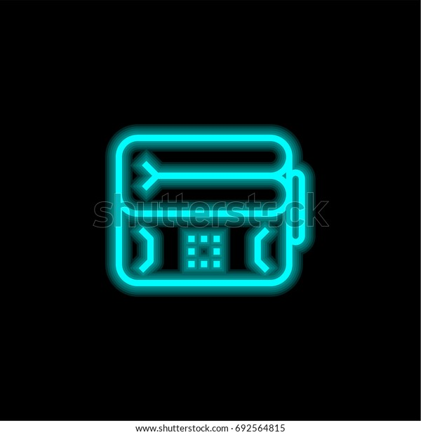 Inflatable blue glowing neon ui ux icon. Glowing sign logo vector