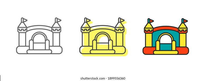 Inflatable bouncy castle for kids summer games on playground. Children's trampoline design. Outline icons set. Vector illustrations isolated on white background