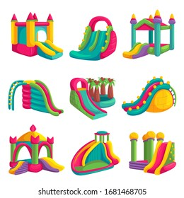 Inflatable bright castle fun for playground set. Childhood activity in the park. Vector inflatable slides cartoon illustration isolated on white background