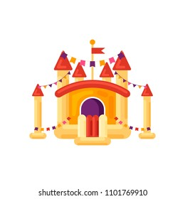 Inflatable castle trampoline for children isolated on white background. Playground, amusement park element, childish entertainment yellow bouncy toy vector illustration