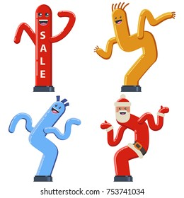 Inflatable dancing tube man vector cartoon flat set. Wacky waving air hand icons for sales and advertising.