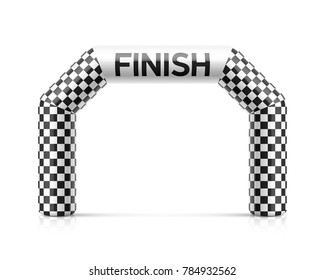 Inflatable finish line arch illustration. Inflatable archway template with checkered flag. Suitable for different outdoor sport events like marathon racing, triathlon, skiing and other, vector illustr