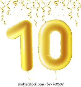 Inflatable golden balls with falling confetti and hanging ribbons. Ten years, symbol 10. Vector illustration, logo or poster for tenth birthday celebrating.